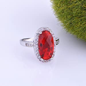 women ring red stone cocktail ring