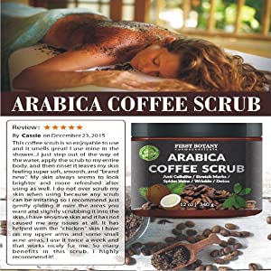 100% Natural Arabica Coffee Scrub with Organic Coffee, Coconut and Shea Butter - Best Acne, Anti Cellulite and Stretch Mark treatment, Spider Vein Therapy for Varicose Veins & Eczema 10 oz 15