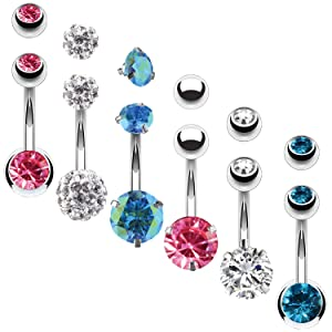 PINK AQUA CLEAR CRYSTAL BELLY RINGS
