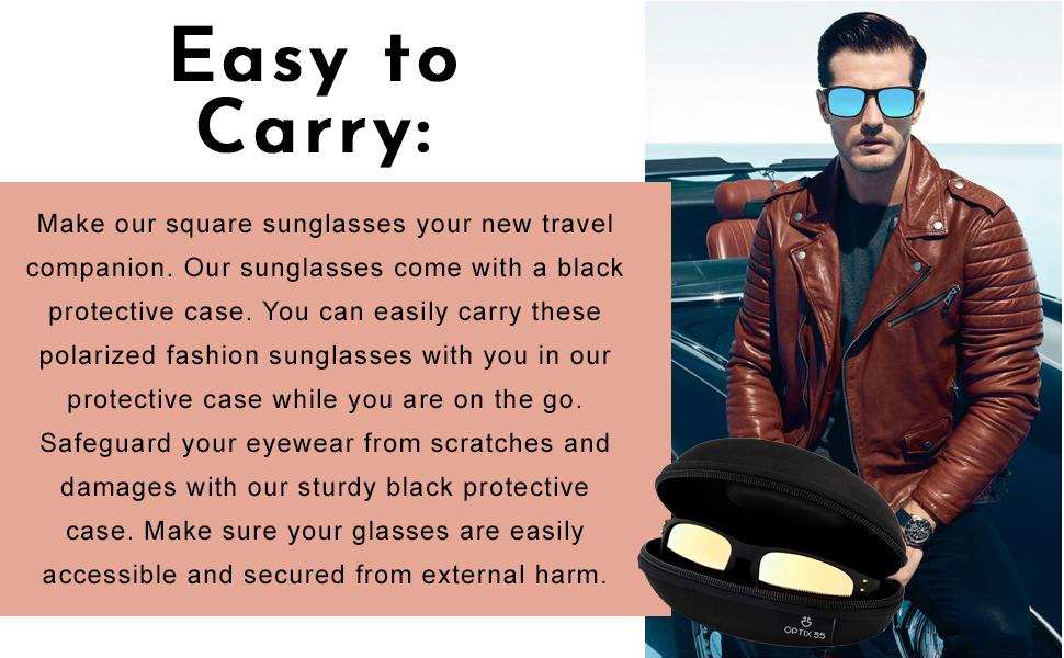 Square sunglasses comes with protective case.