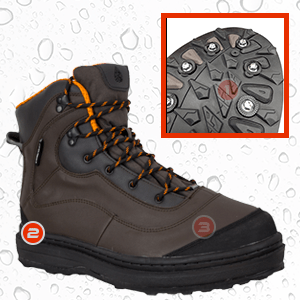compass 360, fishing, gear, cleated, sole, wading, shoe, recessed, stud, durable, neoprene