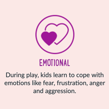 Emotional - during play, kids learn to cope with emotions like fear, frustration, anger and aggress