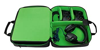 Bag open with xbox controllers