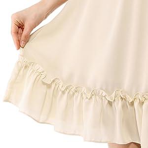 Allegra K Women's Ruffle Hem 3/4 Sleeve A-Line Short Chiffon Dress