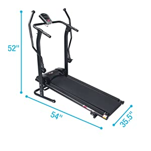 EFITMENT Adjustable Incline Magnetic Manual Treadmill w/Pulse Monitor 12