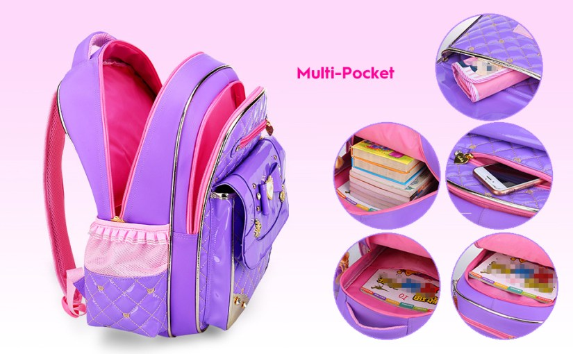 Waterproof Pu Leather Backpacks for Girls Cute Bowknot Kids Bookbags