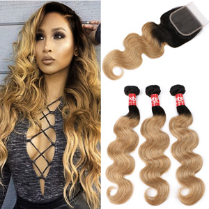 Ombre bundles with closure Brazilian body wave Ombre human hair bundles with lace closure