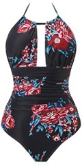 Womens One Piece Swimsuits Deep Plunge Backless Halter Bathing Suits