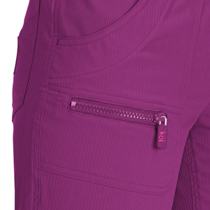 close up of koi Lite 721 Women's Peace Scrub Pant featuring zippered front pocket