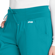 Close-up of front curved pockets of the Barco Grey's Anatomy Active 4276 Womens Yoga Scrub Pant Yoga