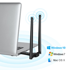 wifi adapter plugged to USB port of laptop, support various operating systems of Windows and MAC