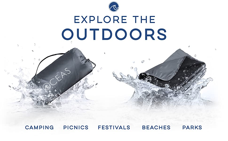 waterproof blanket in bag next to outdoor picnic blanket splashing in water for beach and picnic use