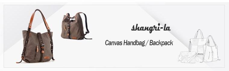 shangri-la canvas handbag backpack