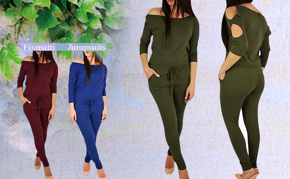 Fixmatti Women Off Shoulder Hollow Out 3/4 Sleeve Drawstring Waist Jumpsuit 1PC