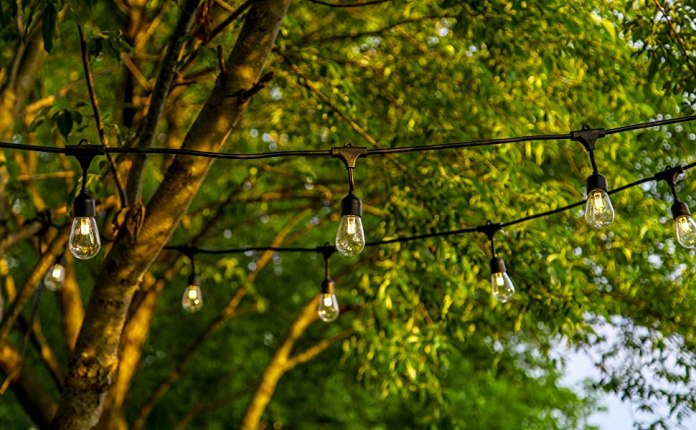 Ambience Pro Solar Powered LED Outdoor String Lights- Hanging Commercial Grade Waterproof