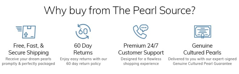 Why buy from The Pearl Source? Fast shipping, easy returns, premium customer support, genuine pearls