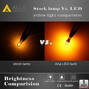 OEM Halogen 194NA 168NA 194 Bulb VS ALLA 194 168 LED Amber Yellow Bulbs
