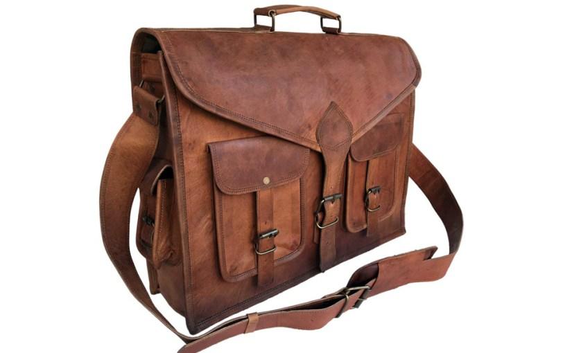 komal's passion leather messenger briefcase office laptop bag