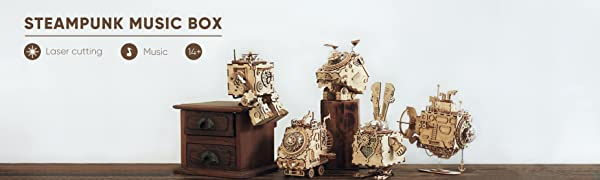RoWood Steam Punk Music Box 3D Wooden Puzzle Craft Toy, Robot DIY Model Building Kits - Orpheus