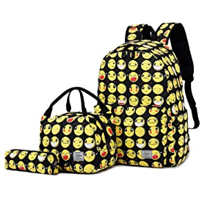 emoji backpack with lunch bag