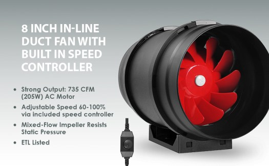 """8"""" Inline Fan Exhaust and Intake Blower With Variable Speed Controller AC Motor Brushless Grow Tent"""