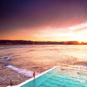 Beautiful early morning sun rising on Bondi Beach