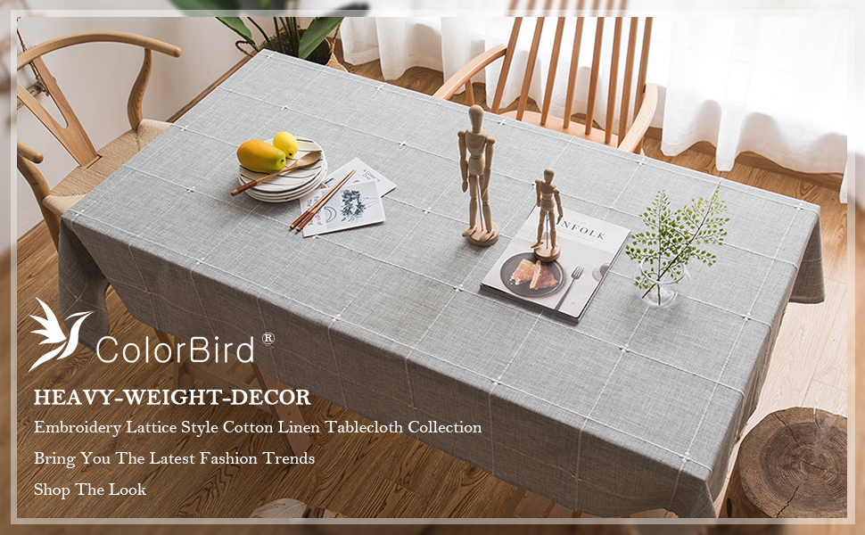 Solid Embroidery Lattice Tablecloth