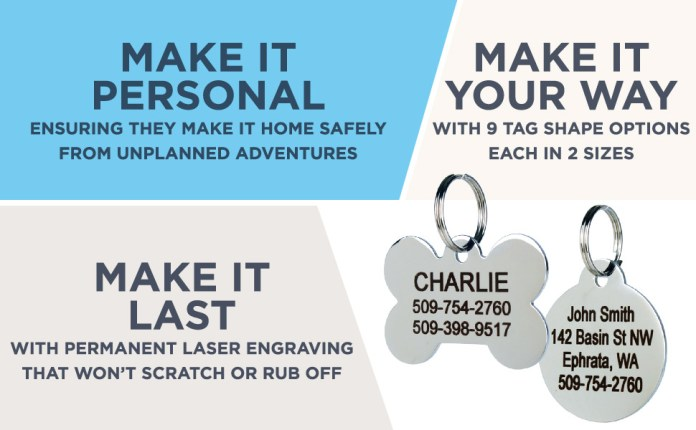 GoTags Stainless Steel Pet ID Tags for Dogs and Cats