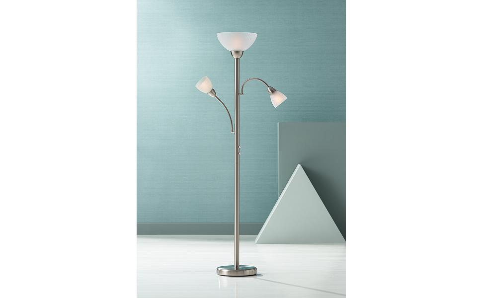 Alexei Brushed Steel Gooseneck Torchiere Floor Lamp