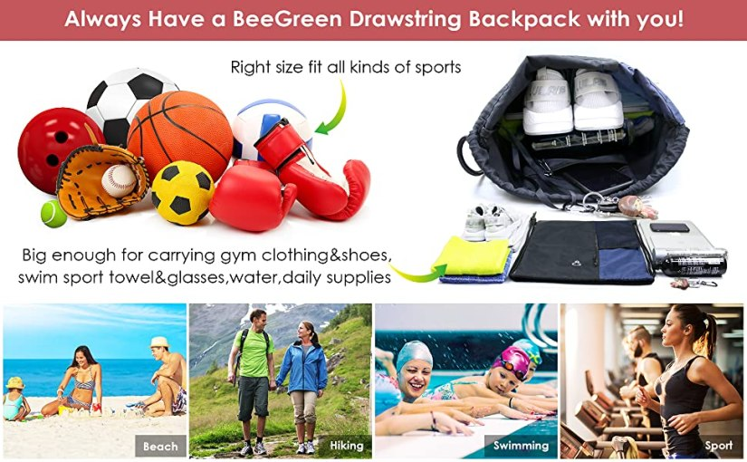drawstring sport backpack bag sackpack cinch sack