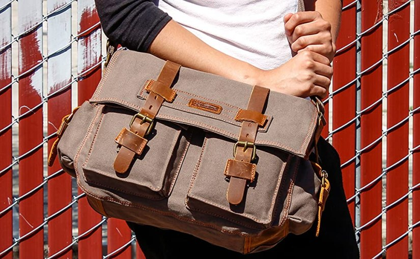 "GEARONIC 14""-17"" Men's Messenger Bag Laptop Satchel Vintage Shoulder Military Crossbody"