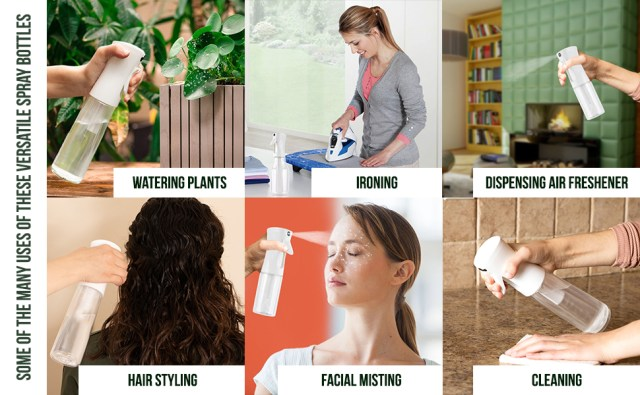 Clear bottles spraycan be used for ioning, watering plants, cleaning and styling