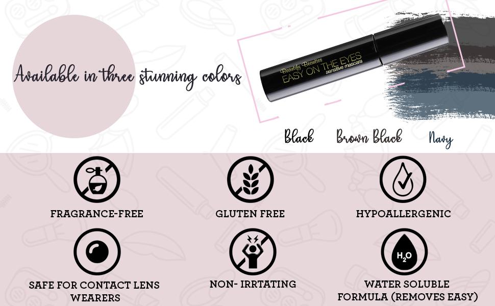 Eye lash mascarafeatures a unique brush design which optimizes product pick up