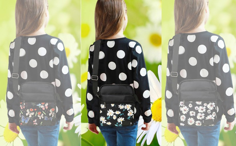 There are three girls wear kemy's floral printed crossbody bag
