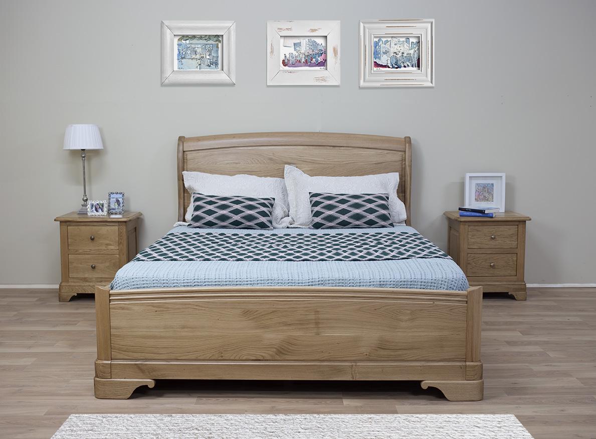 lit gautier en chene massif de style louis philippe avec tiroir de chaque cote 160 200