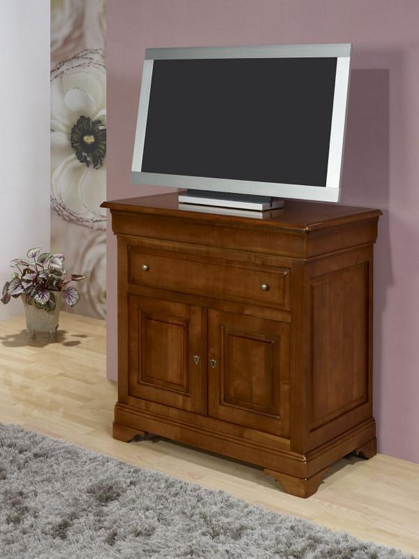 meuble tv 2 portes amandine realise en merisier massif de style louis philippe