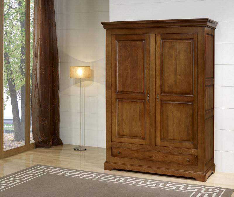 armoire 2 portes gabriel realise en chene massif de style louis philippe campagnard