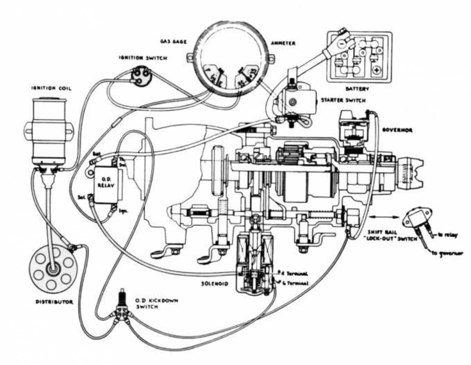 hight resolution of  alternator wiring wiring diagram schematics 53 ford 1948 64 ford f 100 overdrive relay borg warner reproduction 6 volt53 ford overdrive