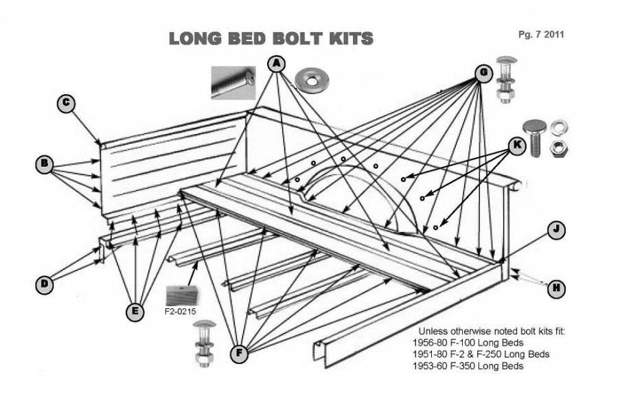 1950-72 Ford F-100 Long Bed Assembly Bolt Kit, B-c-d-e-h