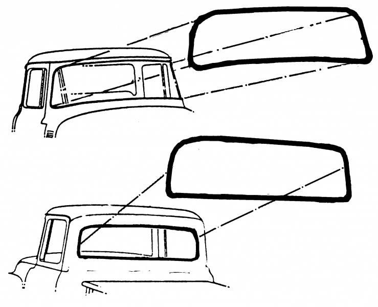 1953-55 Ford F-100 Weatherstrip, Windshield, 53-55 Usa