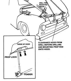 1953-56 Ford F-100 Mmb Hood Tilt Kit, Plain Steel