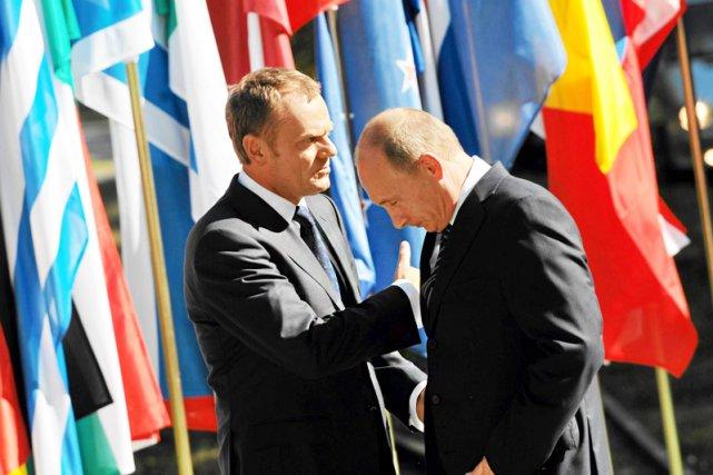 Donald Tusk i Władimir Putin na Westerplatte w roku 2009.
