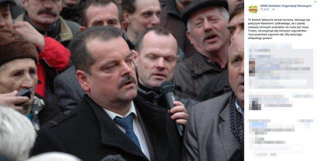 W środę Hadacz przemawiał pod siedzibą Ministerstwa Rolnictwa