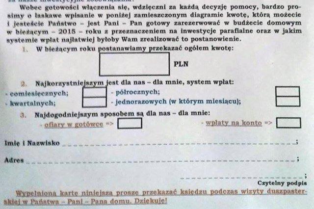 Tego typu dokumenty przed kolędą muszą wypełnić wierni z niektórych polskich parafii.