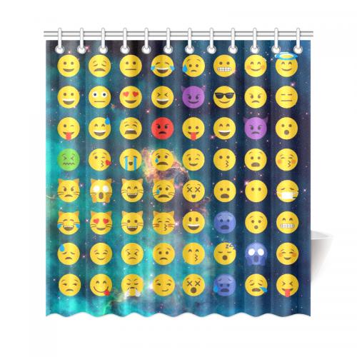 interestprint emoji galaxy custom home decor polyester fabric shower curtain bathroom sets