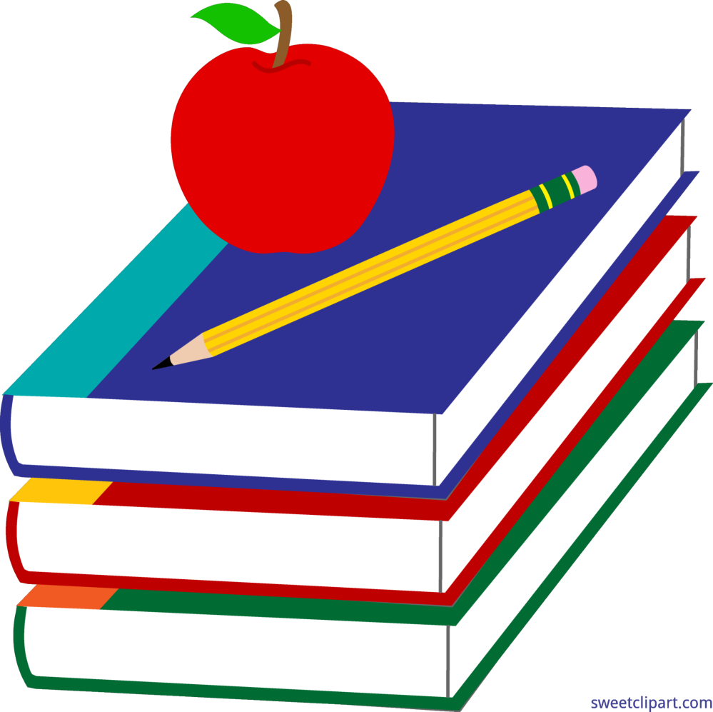 medium resolution of books apple and pencil clip art