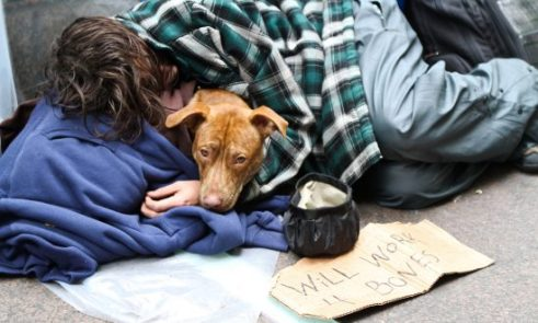 A homeless man cuddling up with a dog on the street.