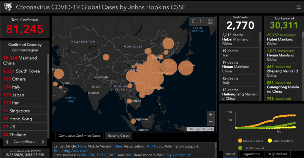 Interactive infographic shows real-time spread of coronavirus ...