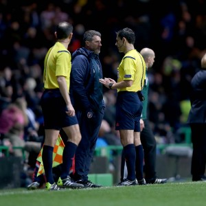 Roy Keane is spoken to by an official 14/11/2014
