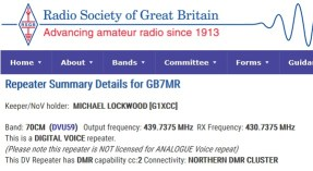 Digital Mobile Radio - GB7MR colour code 2 shown on www.ukrepeater.net